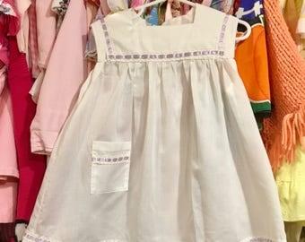 White Cotton Dress with Purple Ribbon 4T