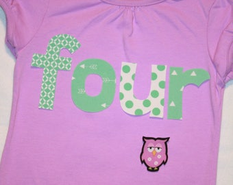 Girls 4th Birthday lowercase FOUR shirt with owl in mint green and light purple - size 4 short sleeve tshirt