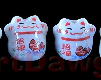 4 Porcelain Maneki Neko, or Beckoning Cat Porcelain Beads - Fish