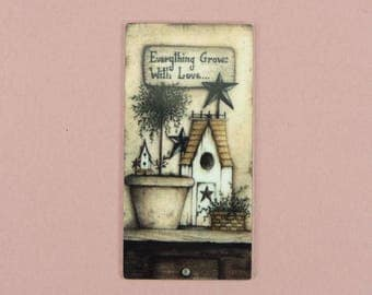 DOLLHOUSE MINIATURE Everything Grows With Love Prim Country Folk Art Wall Art Homespun Picture Doll House Mini Decor 1/12 1/6 Scale