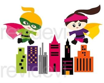 35% OFF SALE Superhero clip art , Running superhero girls clip art, instant download clipart