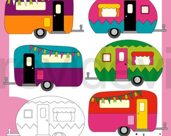 RV Clipart Camper Clip Art Camping Caravan Retro Graphic Bright Colors