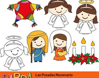Las Posadas clipart commercial use, Nativity Joseph Maria baby Jesus, angels, candles, star pinata clip art download Latin America holiday