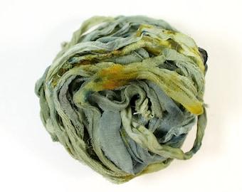 old growth .. hand dyed silk ribbon yarn, recycled silk fabric ribbon, soft knitting, weaving, crochet supply