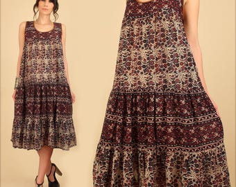 ViNtAgE 70's Indian Cotton Dress Bohemian India Gauze Gauzy Floral Gypsy Cotton HiPPiE Boho Festival Tent Dress Medium M