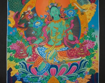 Large Original Thangka Painting  Green Tara  Goddess of Compassion-Non Profit