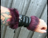 Black and Plum Faux Leather & Fur Cuff Arm Bracer - Ready to Ship - Viking Larp Medieval Cosplay Huntress Warrior