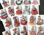 Vintage Ladies Stickers - Set of 20 - Handmade Stickers, Vintage Style, Cute Planner Stickers, Cute Girl Stickers, Dolls of Many Lands