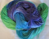 Hand dyed Tencel Yarn - 4/2 Tencel Lace Wt. Yarn  PEACOCK FEATHERS - 420 yards