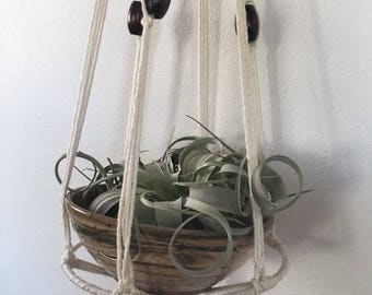 Vintage Macrame Plant Hanger, white Macrame with Beads