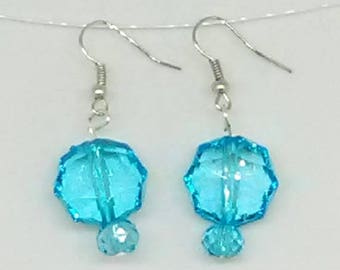 Blue Faceted Flat Circle with Blue Faceted Round Beaded Earrings