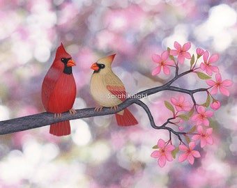 cardinals and crab apple blossoms - signed art print 8X10 inches by Sarah Knight, red beige birds mauve pink flowers pastel colors bokeh