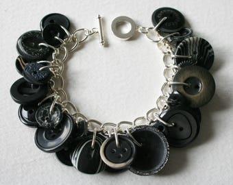 Button Bracelet Vintage Black