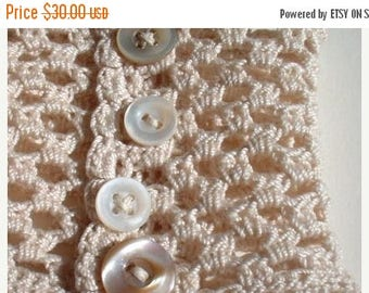First Fall Sale - 15% Off Wristlet no. 50 - a romantic wrist cuff in natural cotton - vintage buttons and handmade lace - ecru