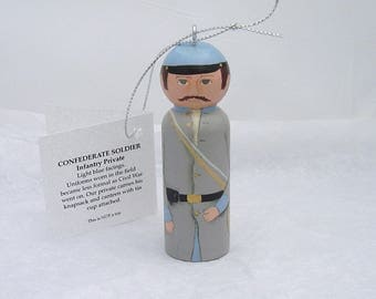 Ornament Confederate INFANTRY  hand painted on wood in USA