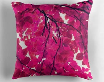 decorative pillow with pillow insert-nature photo pillow-dorm room decor livingroom decor-home and living-magenta-hot pink and white-leaves