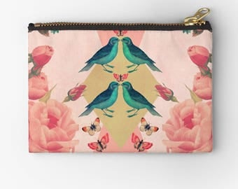 nature inspired carry all pouch-birds-roses-pinkand blue-butterflies-feminine fabric make up bag-pencil case-coin purse-bridesmaid gift