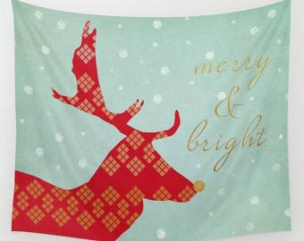 holiday wall tapestry-christmas wall hanging-animals-deer-red-gold-green-home decor-wall art-typography and gold words-unique artist design