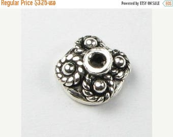 SHOP SALE Bali 925 Sterling Silver Bead Caps 7mm Dots and Rope, Sterling Silver Beadcaps, Jewelry Findings (2 beads)