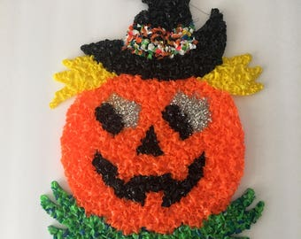 Pumpkin Witch Wall Hanging Vintage Melted Plastic Popcorn Autumn Halloween Fun Decorations