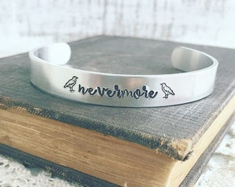 Edgar Allan Poe, The Raven Nevermore quote cuff bracelet, silver adjustable cuff bracelet