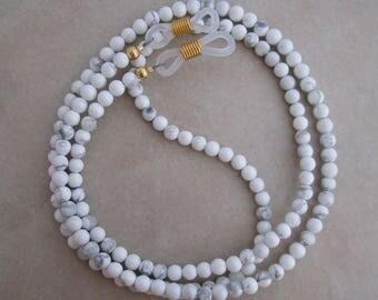 white howlite eyeglass chain holder gold ends