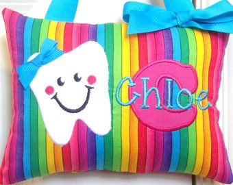 Tooth Fairy Pillow - Rainbow Stripe Turquoise - Custom Made - Boutique