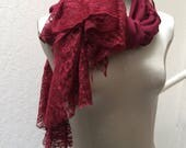Extra Long Burgundy Upcycled Scarf