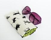 Glasses case, cat fabric, black and white cotton cat design, cotton case