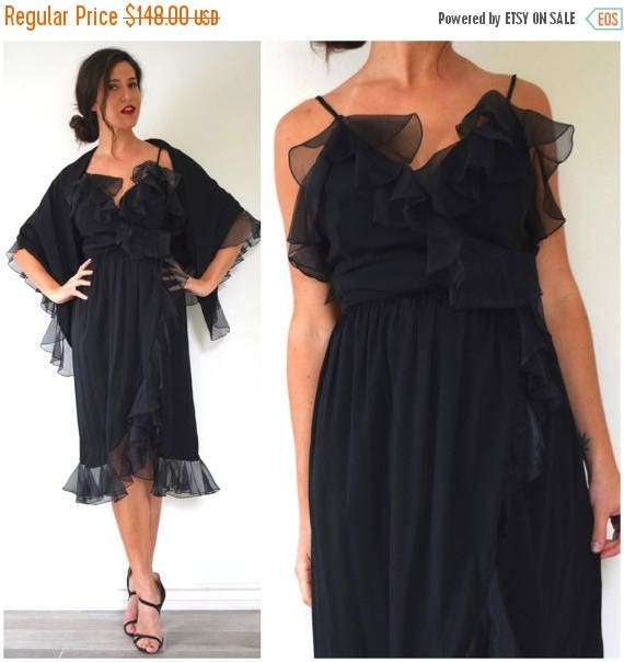 SUMMER SALE / 20% off Vintage 70s Black Ruffled Wrap Dress with Matching Triangle Shawl