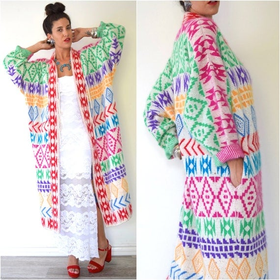 SUMMER SALE/ 30% off Vintage 80s 90s Rainbow Southwestern Knit Sweater Duster