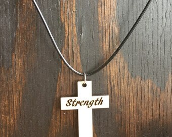 Strength Cross wood pendant Necklace