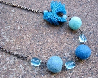 Eco-Friendly Statement Necklace - Blue Whimsy - Recycled Vintage Brass Rollo Chain, Blue Beads and Lace with Contemporary Felted Wool Beads