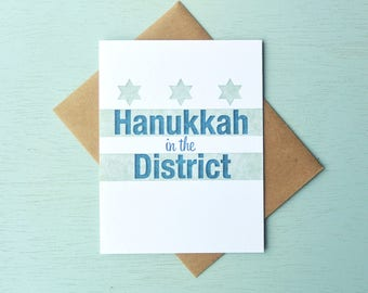 DC Flag Letterpress Holiday Card - Hanukkah in the District - LLH-404