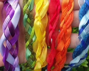 6 Wedding Handfasting Cord - Rainbow for 6 cord ceremony Set1 red orange yellow green blue purple