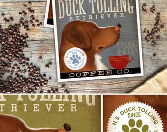 Nova Scotia Duck Tolling Retriever dog Coffee Company graphic art UNFRAMED giclee print by Stephen Fowler