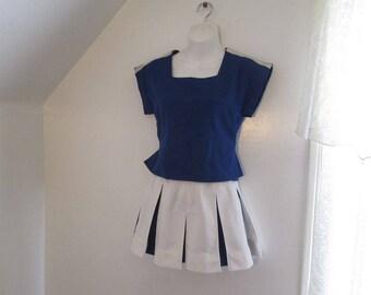 Vintage 80s Cheerleader uniform Blue and White Pleated skirt vintage Cheer top and skirt Halloween costume XS cheerleading