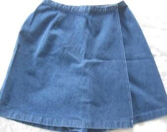 Vintage Denim Split Skirt Culottes Shorts with Skirt size 14
