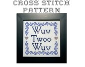 Reserved for Jennifer - CUSTOM - DIY Wuv Twoo Wuv -  .pdf Original Cross Stitch Pattern  - Instant Download