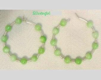 """1 1/2"""" Silver Plate Green Shell Hoop Earrings"""