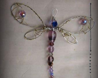 Purple Crystal Dragonfly Suncatcher