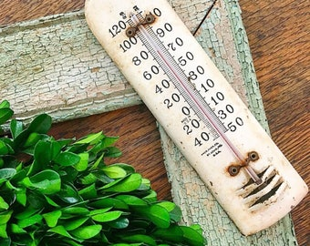 Temperatures Rising... Vintage Enamel Thermometer Farmhouse Decor Temperature Gauge Rusty Chippy Weather Forcast Industrial