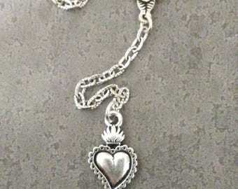 Heart Lariat Y  Necklace  Corazon Milagros Milagro Heart Silver  Love Jewelry ~ Ex Voto Milagro Heart ~ Rose Necklace Roses by Red Gypsy