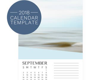 2018 Calendar Templates - 2018 Desk Calendar - 12 Month Calendar Template 2018 - Wedge 5x7 Calendar - Printable 2018 Calendars - DIY