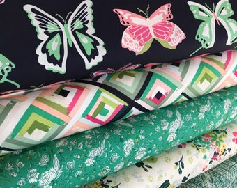Butterfly Fabric, Wingspan, Gift for Quilter, Quilting fabric, Navy Pink, Girl room ideas, Fabricshoppe Bundle of 5, Choose your cut
