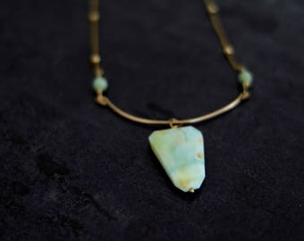 Peruvian Opal Statement Necklace Bib choker gold Mint green aqua October birthstone Under 125 VitrineDesigns