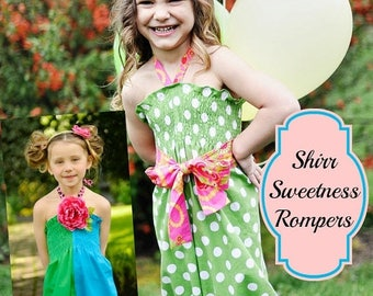 SALE Whimsy Couture Sewing Pattern Tutorial Pdf -- Shirr Sweetness Romper -- nb through 8 girls shorts and capris Instant