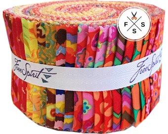 """Kaffe Fassett Collective Citrus Design Roll 2.5"""" Precut Fabric Quilting Cotton Strips Free Spirit FB3DRGP.CITRU"""