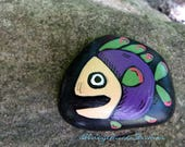 Fish Folk Art, Original hand painted Beach Rock, Lake Erie, handpainted, earth art, reclaimed, inked, stone, Pocket Smile