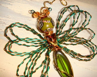 "My #9096 A Bug Eyed Alien Green/Bronze Fluttering Dragonfly!.. Ornament! Size 3""Wx4""L - Unique Gift!"
